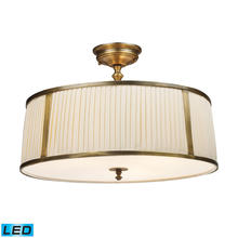 ELK Lighting 11055/4-LED - Williamsport 4-Light Semi Flush in Brass Patina with Cream Drum Shade - Includes LED Bulbs