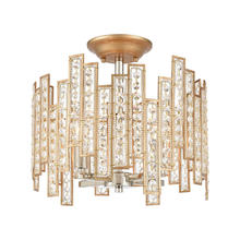 ELK Lighting 12131/4 - Equilibrium 4-Light Semi Flush Mount in Matte Gold with Clear Crystal